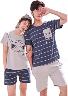 Couple Adult Summer Pajama sets, Cotton Short-Sleeved with Shorts Boys Girls Men Women Sleepwear/Loungewear/Casual Wear/Ni...