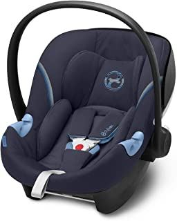 CYBEX Gold Babyschale Aton M i-Size, Inkl. Neugeboreneneinlage, Für Kinder ab 45 cm bis 87 cm, Max. 13 kg, Navy Blue
