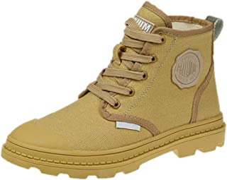 Hemore Women Ankle Boots Breathable Canvas Upper Casual Style Lace Up High Top Sneakers with Non Slip Sole for Outdoor