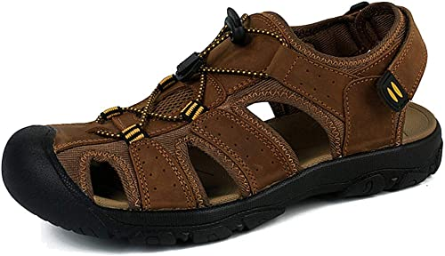 L-X Chaussures de Randonnée Estivale en Cuir Véritable pour Hommes Sport Trail Chaussures de Randonnée Estivales en Plein Air, Marron, 41 UE