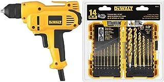 DEWALT DWD115K 8 Amp 3/8-Inch VSR Mid-Handle Grip Drill Kit with Keyless Chuck with DEWALT DW1354 14-Piece Titanium Drill ...
