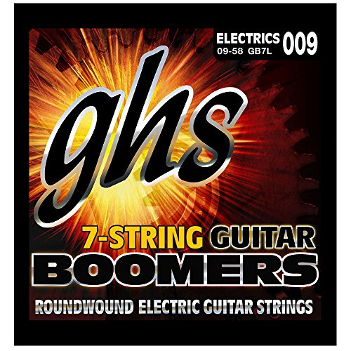 GHS Strings GB7L 7-String Guitar Boomers, Nickel-Plated Electric Guitar Strings, Extra Light (.009-.058)