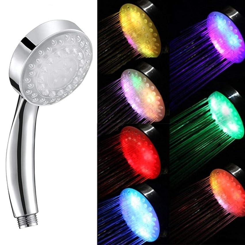 世界記録のギネスブックほうき助手シャワーヘッド 取り付け簡単 シャワー、7色の変更LEDシャワーヘッドラウンド降雨節水ノズルRC-9816バスルームアクセサリー
