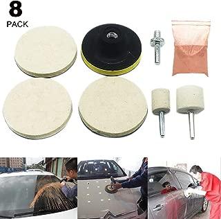 Scelet 8 Pack Glass Polishing Kit, 75mm Felt Polishing Wheels with Cerium Oxide Polishing Powder for Windscreen and Glass