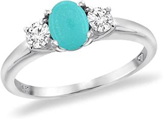 14K White Gold Natural Turquoise Engagement Ring Diamond Accents Oval 7x5 mm, Sizes 5-10