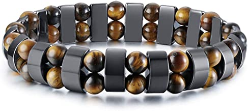 BTF Magnetic Healing Hematite Stretch Bracelet Tiger Eye Stone Bracelet For Men