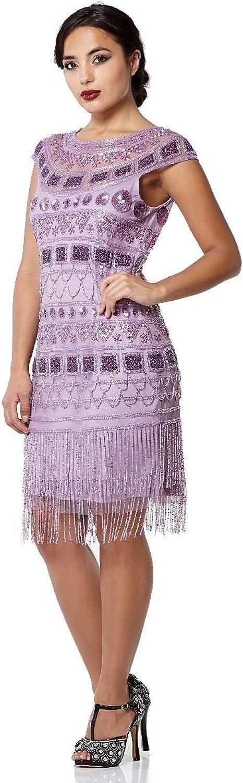Gatsbylady london Beverley Fringe Flapper Dress in purplec  Quality Handmade Flapper Dresses for Women