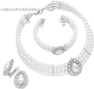 Women's Simulated Large Teardrop Pearl 3 Piece Choker Necklace Cuff Bracelet Clip On Earrings Bridal Jewelry Set