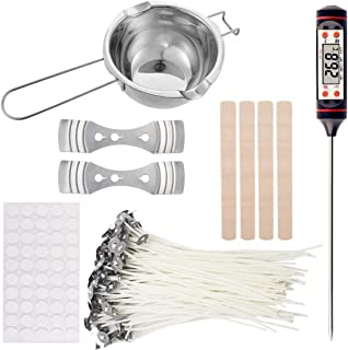 Meterk Candle Wick Candle Making Kit Supplies Includes Double Spouts Boiler Pot, 50Pcs Candle Wicks, 50Pcs Wick Stickers, ...