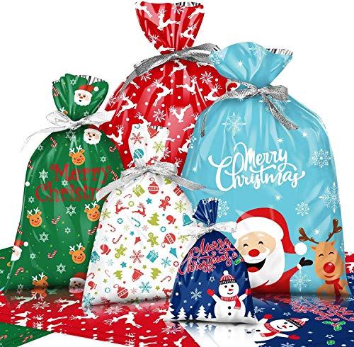 KAHEIGN 30Pz Confezioni Regalo Natalizie Con Lacci in Nastro Da 18,6 M, Taglia Larga Incartamento Di Regalo Stili Assortiti Sacchetti Regalo Per Decorazioni Per Feste Di Natale (5 Taglie)