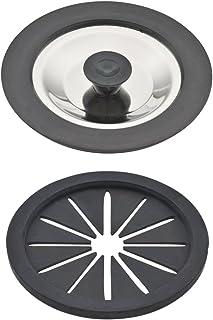 GAONA(ガオナ) 排水口カバー ブラック 菊割れフタ/約直径7.9×厚み0.5cm、フタ/約直径8.4×厚み0.9cm (菊割れゴム 水を溜める 防臭) GA-PB043