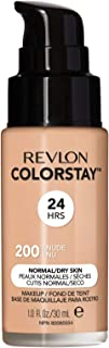 Revlon ColorStay Makeup for Normal/Dry Skin SPF 20, Longwear Liquid Foundation, with Medium-Full Coverage, Natural Finish, Oil Free, 200 Nude, 1.0 oz