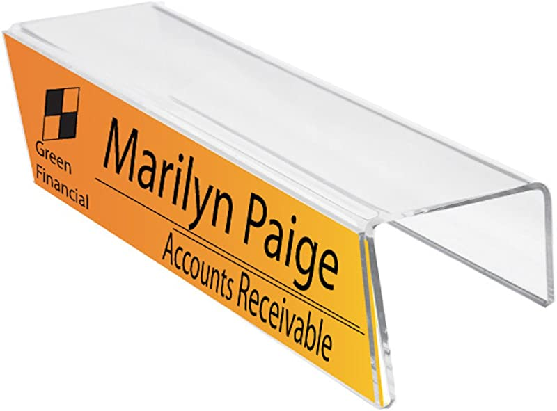 Plastic Products Mfg Single Sided Cubicle Name Plates 8 1 2 Wide X 2 1 2 High X 3 Deep Hook PNH085025030 10 Pack