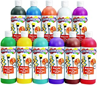 Colorations Biocolor Paint, 16 oz. Set of 11, Non-Toxic, Kids, Craft, Hobby, Fun, Poster Painting, Resist Painting, Marbling, Blotting, Metal, Plastic, Foil, Glass, Gift (Item # BIO16)