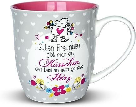 """Sheepworld 44399 Tasse mit Spruch """"Guten Freunden gibt man ein Küsschen"""", Porzellan, 60 cl, Geschenk-Artikel preisvergleich bei geschirr-verleih.eu"""