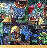 1/2 Yard - Disney Beauty & The Beast'Stained Glass Window' Cotton Fabric (Great for Quilting, Sewing, Craft Projects, Quilts, Throw Pillows & More) 1/2 Yard X 44' Wide