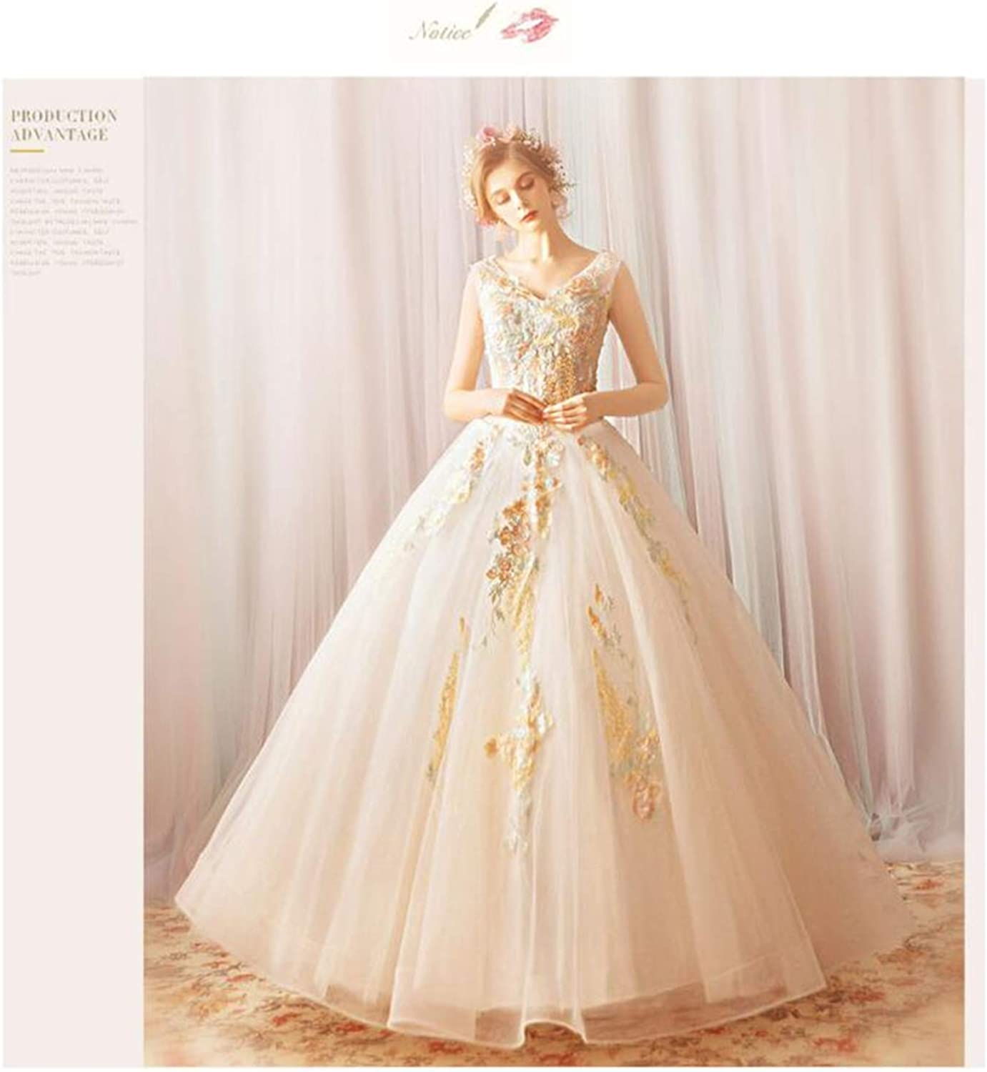 Wedding Dress,Tulle Lace Embroidered Flower Wedding Dress, Floor Length Round Dress, White