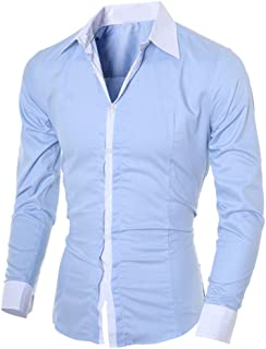 Fashion Personality Men's Shirt Casual Slim Long Sleeved Top Blouse