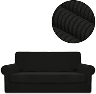 ANJUREN Sofa Loveseat Couch Chair Slipcover Cover with Separate Seat Cushion Cover 2 Piece 3 Seater T Cushion Sofa Slipcovers Grid Stretch Living Room Furniture Slip Cover (Sofa, Black)