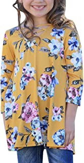 Girls T Shirts Casual Cute Floral Tops Long Sleeve Criss Cross Blouses Fall Clothes