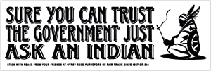 Sure You Can Trust The Government… Just Ask an Indian - Freedom Liberty Constitution 2 Mini Stickers Phone Fridge Laptop Decals 3-by-1 Inches