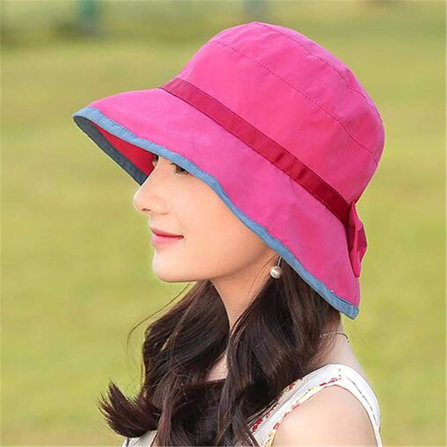 Women Hat Summer Fall Basin Cap Fisherman Hat Foldable Red