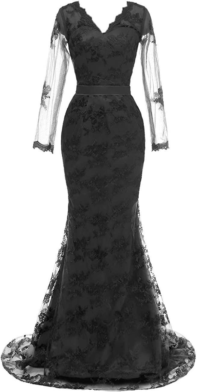 Formal Evening Dress Long Sleeves Prom Dresses Mermaid Evening Gowns Lace Prom Party Dress V Neck