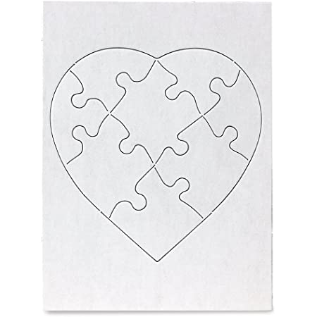"""Hygloss Products, Inc Blank Heart Decorating Kids Jigsaw Activity, Use As Party Favors, DIY Invites and More-White, Sturdy-6 x 8 Inches, Pieces, 12 Puzzles, 6"""" x 8"""""""