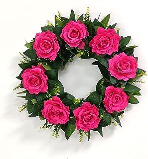 WZHZJ Roses colorées Lumineuses Couronne Accueil Décoration Porte Suspendu Fleurs artificielles Guirlande pour Fournitures...