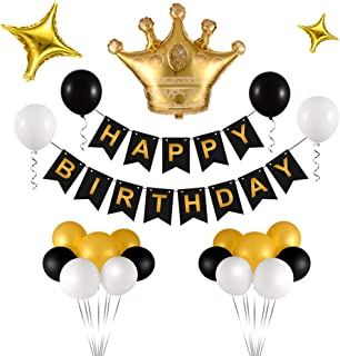 Triwol Birthday Decorations, Birthday Party Supplies for Women and Men, Bday Decor Include Gold Crown and Star Mylar Balloon/Black Happy Birthday Banner / 21pcs Latex Balloons