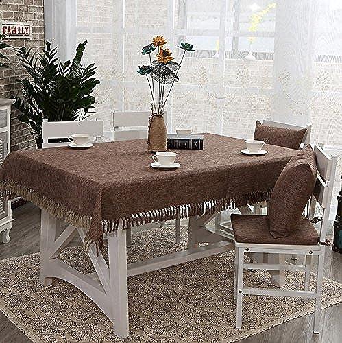 DONG Tischdecke Baumwolle und Leinen Quasten Tischdecken Home Square Tischdecke Esstisch Tischdecke (Farbe   Braun, Größe   53.1  86.6inch)