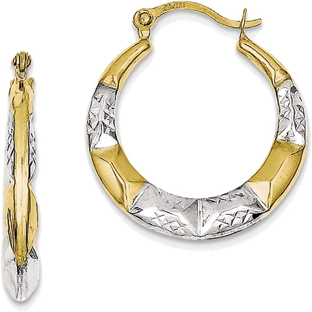 Hollow Hoop Earrings in 10K Yellow Gold with Rhodium Plating