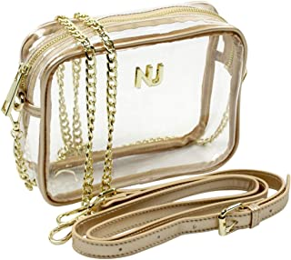Nu Women Handbags Taylor Gold Clear Crossbody Bag, Stadium Event Approved