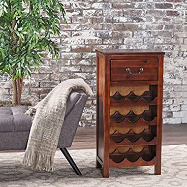 Shelby Rich Mahogany Acacia Wood with Faux Wood Overlay Wine Rack