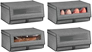 mDesign Boite à Chaussures en Tissu (Lot de 4) – Boite de Rangement empilable avec hublot, Fermeture éclair et Couvercle –...