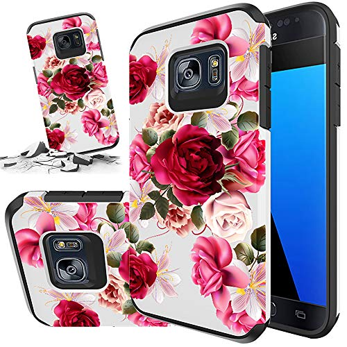 Red Floral Phone Case Compatible for [ Samsung Galaxy S7 ] [ Storm Buy ] Shockproof 3D Textured Vibrant Rubber Cover for Galaxy S7