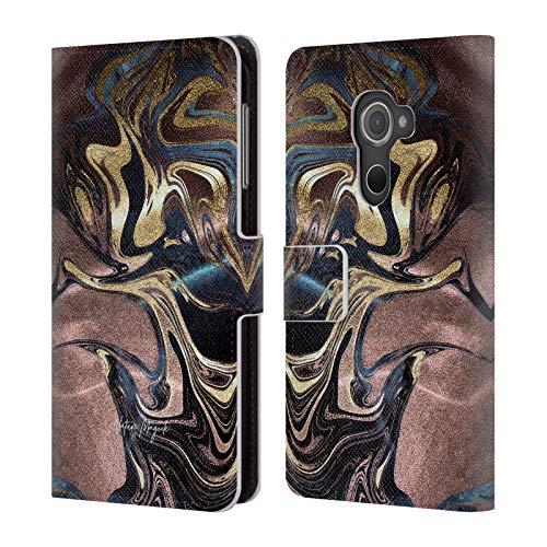 Head Case Designs Offizielle Nature Magick Gold Gold Marmor Metallisch Leder Brieftaschen Huelle kompatibel mit BlackBerry DTEK60