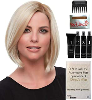 Bundle - 8 Items: Alison Wig by Jon Renau, Christy's Wigs Q & A Booklet, 2oz Travel Size Wig Shampoo, Conditioning Spray, Flexible Spray, HD Smooth, Wide Tooth Comb & Wig Cap - Color: 14/26S10