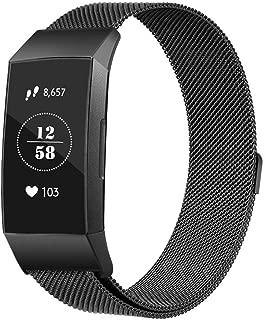 Haotop バンド コンパチブル 適応 Fitbit Charge3/3 SE,ト ユニークなマグネットロック付き ステンレス鋼バンド 交換ベルト (Small, 黒)