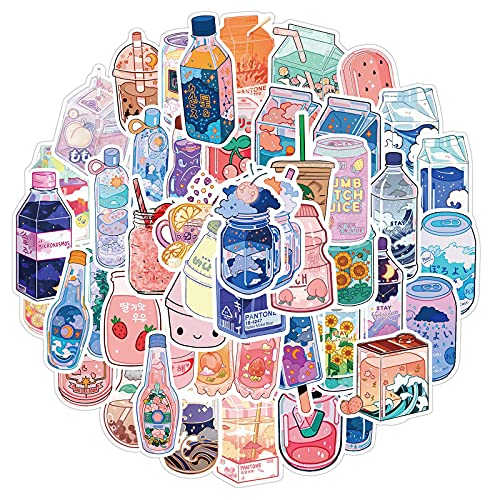 Cartoon Drinks Stickers for Water Bottles 50 Pcs Cute,Waterproof,Aesthetic,Trendy Stickers for Teens,Girls Perfect for Waterbottle,Laptop,Phone,Travel Extra Durable Vinyl