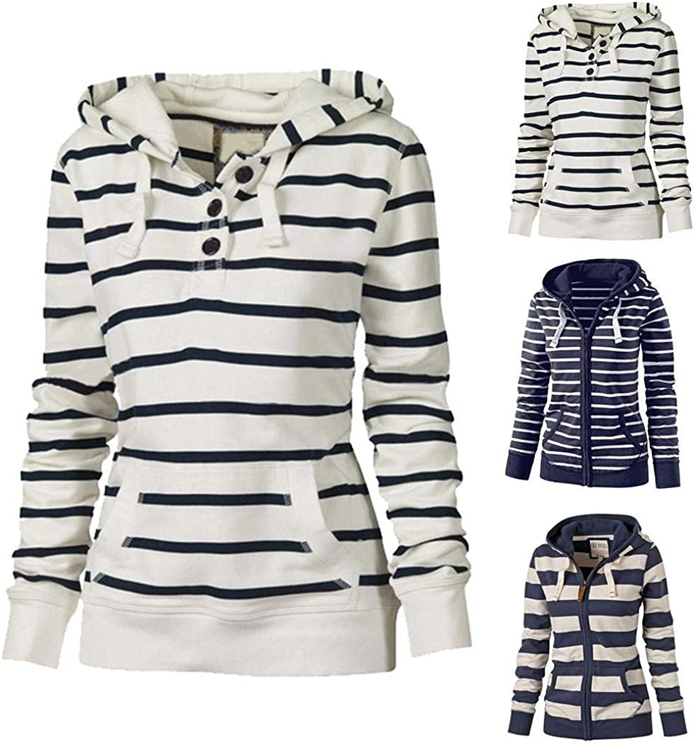 ORANDESIGNE Gestreifte Sweatshirtjacke mit Reißverschluss Jacke Damen Kapuzenjacke Hoodie Sweatshirt Pullover Kapuzenpullover mit Kordel Zip Casual Langarm Top C Weiß