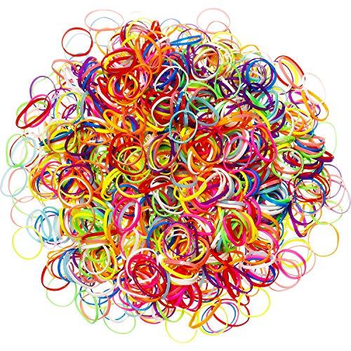 Packung mit 1000 Mini Gummibändern Weiche Elastische Bänder für Kinderhaar, Zöpfe, Hochzeit, Frisur und Mehr (Mehrfarbig)