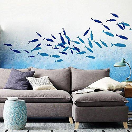 Muursticker 4U® - Muursticker vissen donkerblauw lichtblauw oranje | Meer vis Aquarium onderwater wereld zee oceaan | Muurschilderingen Muursticker badkamer badkamer tegelsticker decoratie voor kinderkamer kinderen A: donkerblauw.