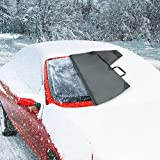 Caterpillar Automotive Universal Windshield Snow Ice Cover, Weatherproof for Fall & Winter, Includes Anti-Theft Flaps and Magnets, Freeze Protector for Auto Car Truck Van and SUV, Wide 78' x 43' in