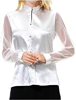 XINHEO Women's Long Sleeve Imitated Silk Fabric Stand Collar Splice Solid Color Top Shirt