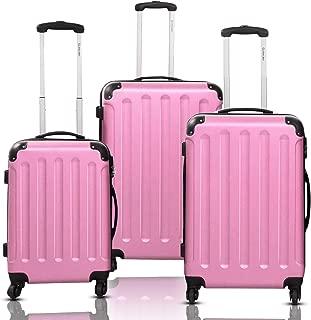 3Pcs Luggage Set, Hardside Travel Rolling Suitcase, 20/24/28 Rolling Luggage Upright, Hardshell Spinner Luggage Set with Telescoping Handle, Coded Lock Travel Trolley Case (Pink)