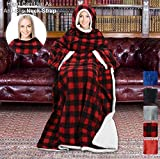 Tirrinia Sherpa Hood Wearable Blanket for Adult Women and Men, Super Soft Comfy Warm Plush Throw with Sleeves TV Blanket Wrap Robe Hoodie Cover for Sofa, Couch 72' x 55' Red Plaid