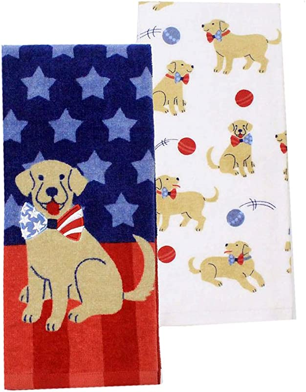 4th Of July USA Home Decor Patriotic Puppy Dog Yellow Lab Kitchen Towel Set