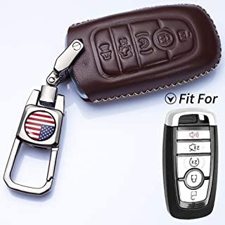 Romeo's Memory Genuine Leather Smart Key Keyless Remote Entry Fob Case Cover with Key Chain for 2019 Ford Fusion, Explorer, Escape, Edge, F-150, Mustang and More Models (5 Buttons, Black)
