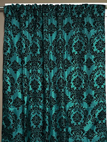 lovemyfabric Taffeta Flocking Damask Print Window Curtain Panel/Stage Backdrop/Photography Backdrop-Black on Teal (2, 56'X84')